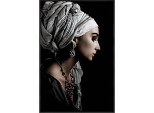 Bilde av Bilde dame med turban sort ramme