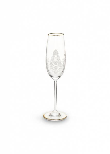 Champagne Glass m|stett hvit Flora Dekor