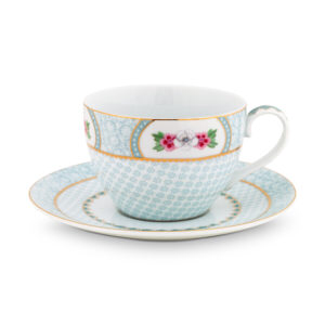Bilde av Cappuccino cup and sauser Blushing Birds white