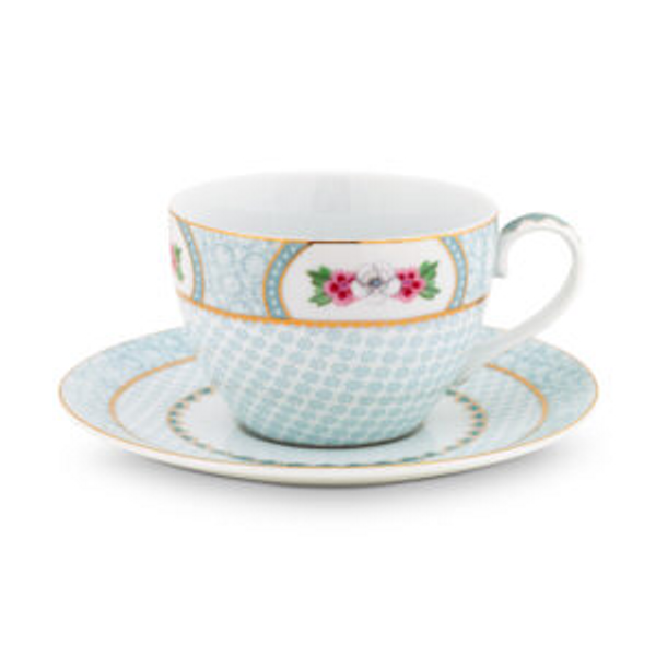 Cappuccino cup and sauser Blushing Birds white 280m