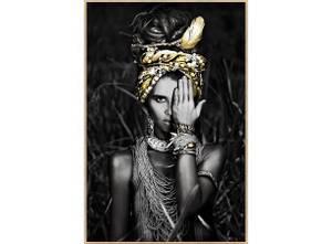 Bilde av Bilde Afrikansk Dame Gullramme 70x105cm Temperert