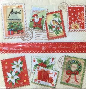 Bilde av Lunsj servietter jule frimerker motiv