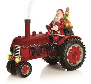 Bilde av Nisse med traktor rød LED-Lys og lyd 28cm 3xAAA