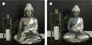 Bilde av Budda silver brun l