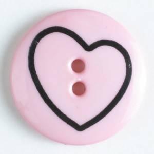 Bilde av Dekor knapp, Hjerte Rosa