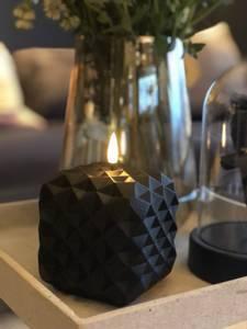Bilde av Led lys kubbe GEO svart