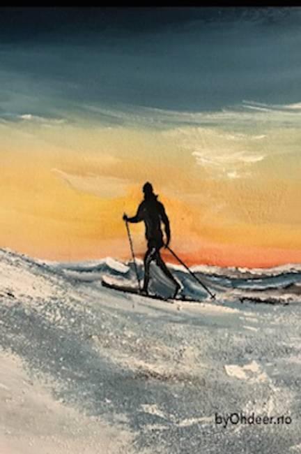 Skibilde mann i solnedgang