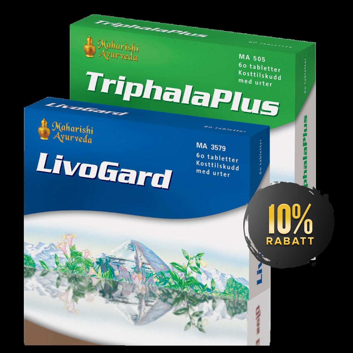 Rensepakken for fordøyelsen (Triphala Plus + Livogard)