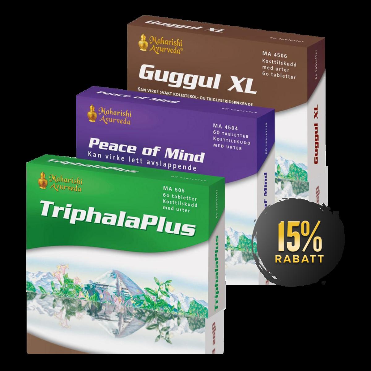 Ned i vekt pakken (Triphala Plus + Guggul XL + Peace of Mind)