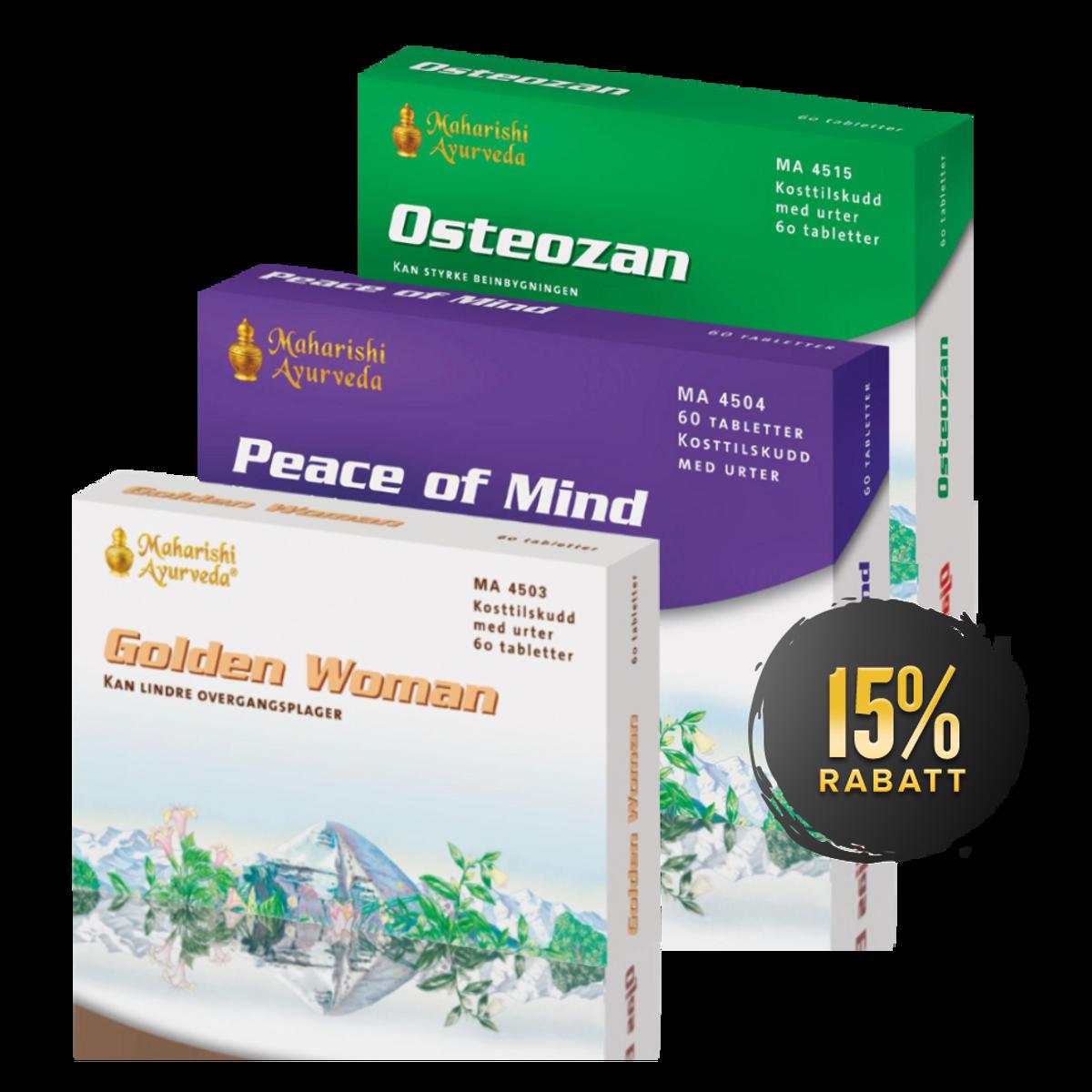 Pakke mot overgangsplager (Golden Woman + Osteozan + Peace of Mi