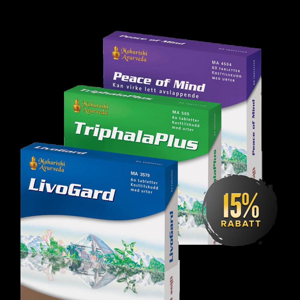 Ayurvedisk Grunnpakke (Triphala Plus + LivoGard + Peace of Mind)
