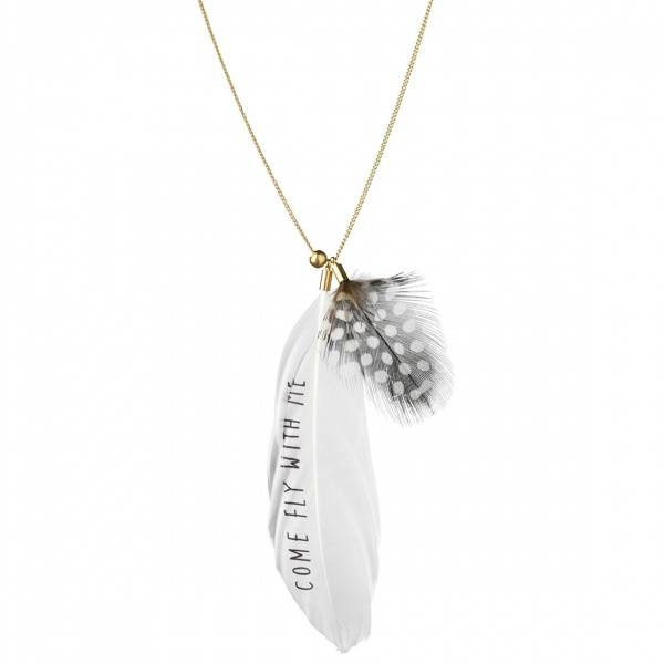 Feather necklace. Come fly... Gold