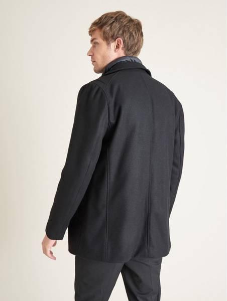 Saki Valentin medium lang ulljakke i fargen black