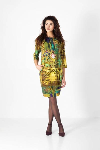 Bilde av Boheme kort kjole med glidelås i oker mix