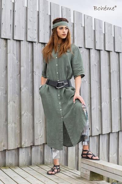 Bilde av Boheme kjole lang m/knapper i oliven
