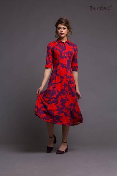Bilde av Boheme kjole lang i red print
