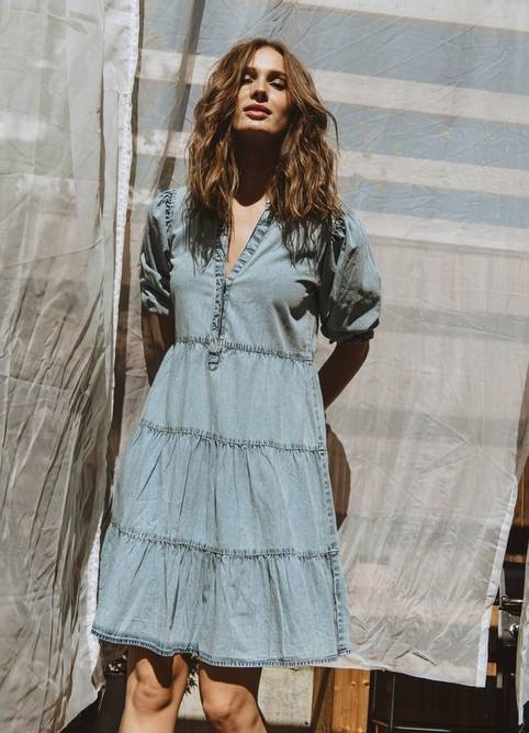 Bilde av MISSMAYA LUCY DRESS ICE DENIM
