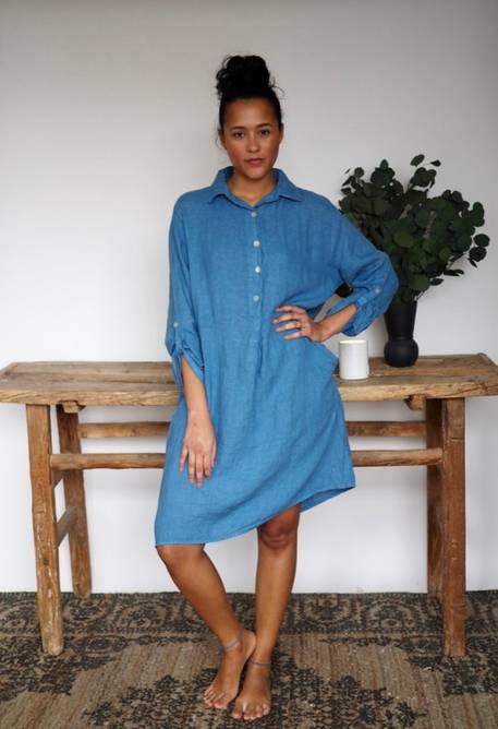 Bilde av Nectar Clothing - Matilde Linen Dress - Denim