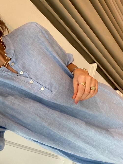 Bilde av TIFFANY Ebbi Long Dress Linen, Light Blue