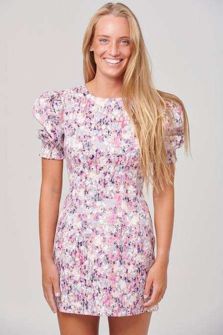 Bilde av Noella Blade Dress Satin Pink/lilac Print