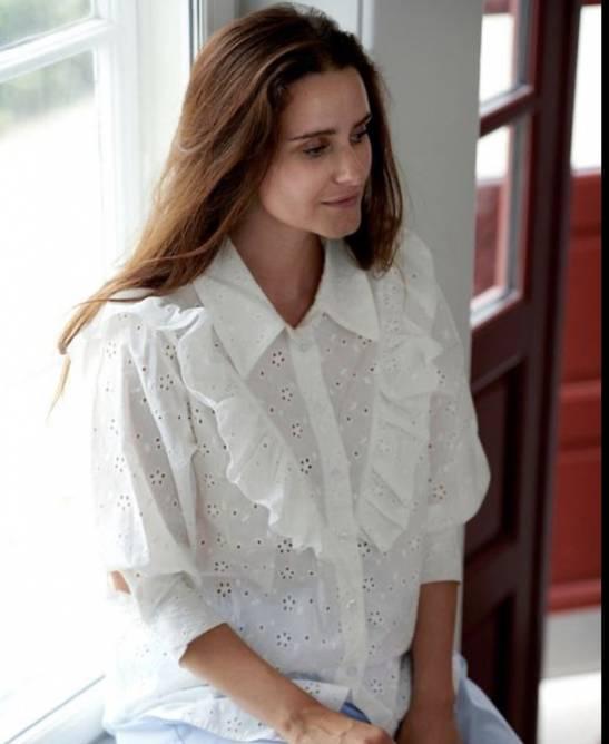 Bilde av Tiffany Vita Ruffle Shirt Cotton Lace, White
