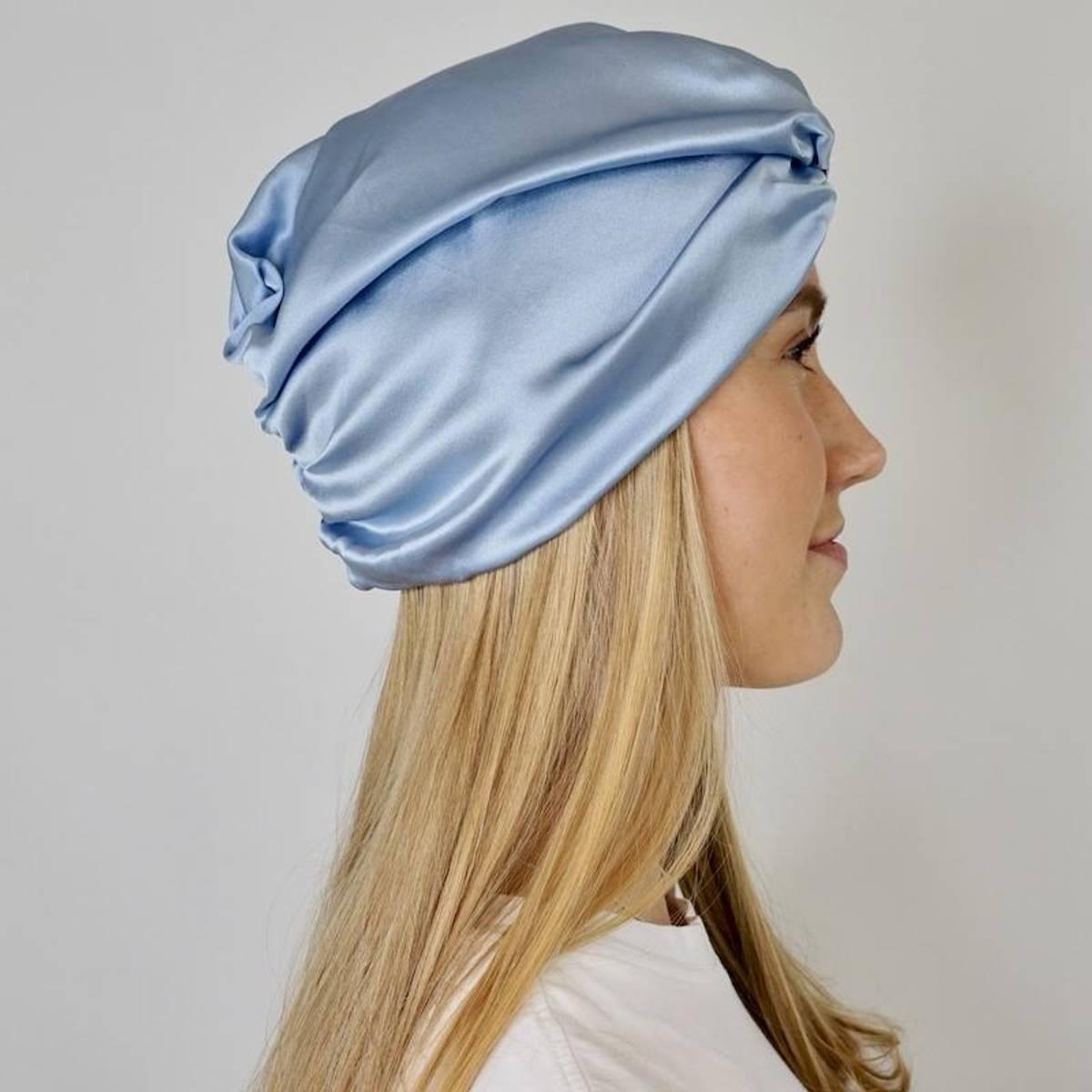 Sove turban i silke-blå