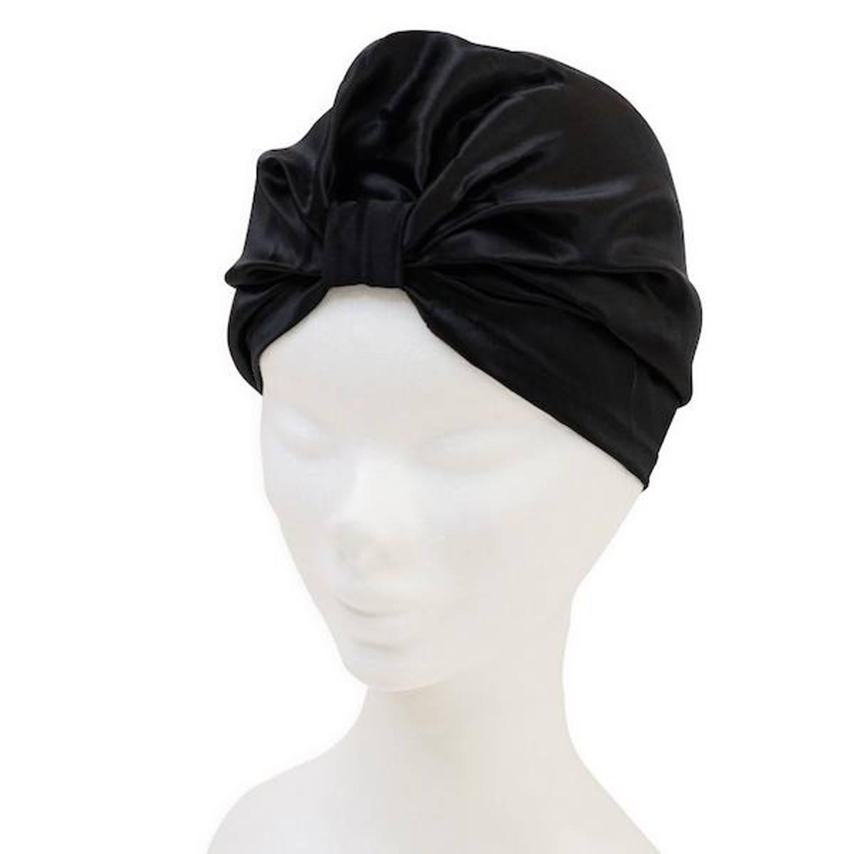 Sove turban i silke-sort