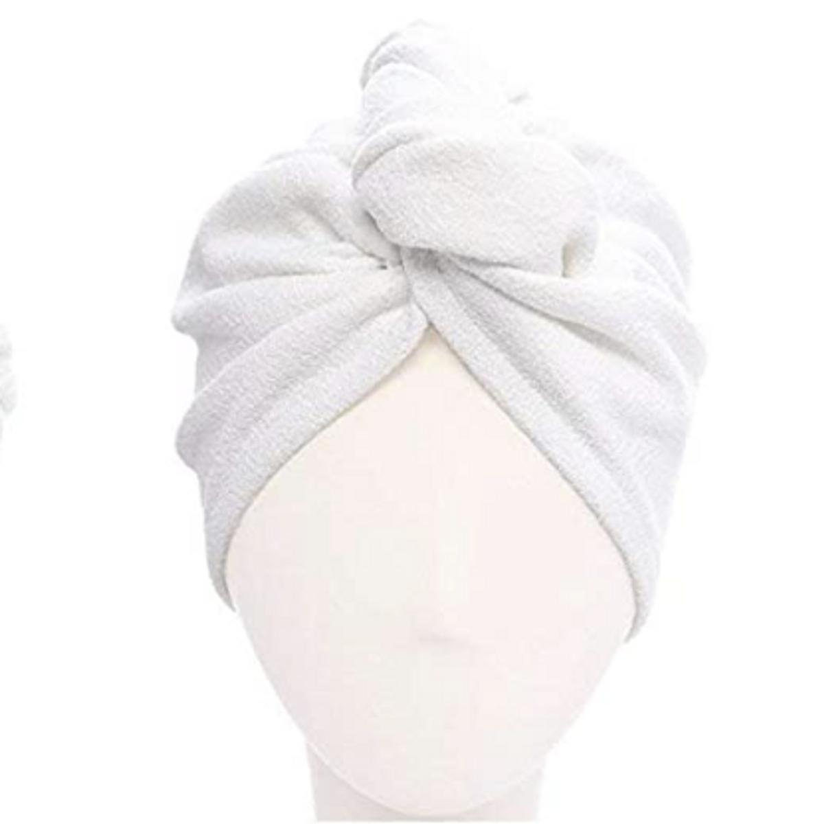 Bambus hårhåndkle -hvit