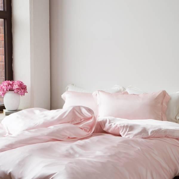 Bilde av Dynetrekk i silke- lys rosa
