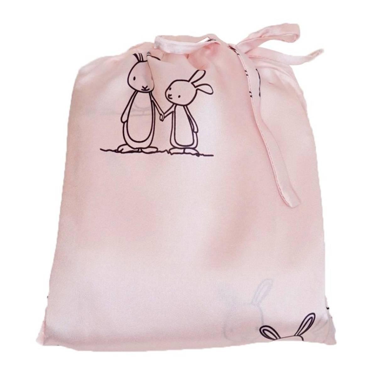 Sengett til barn i silke - lys rosa