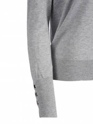 Bilde av HAUST - Button Short Pullover Grey Melange