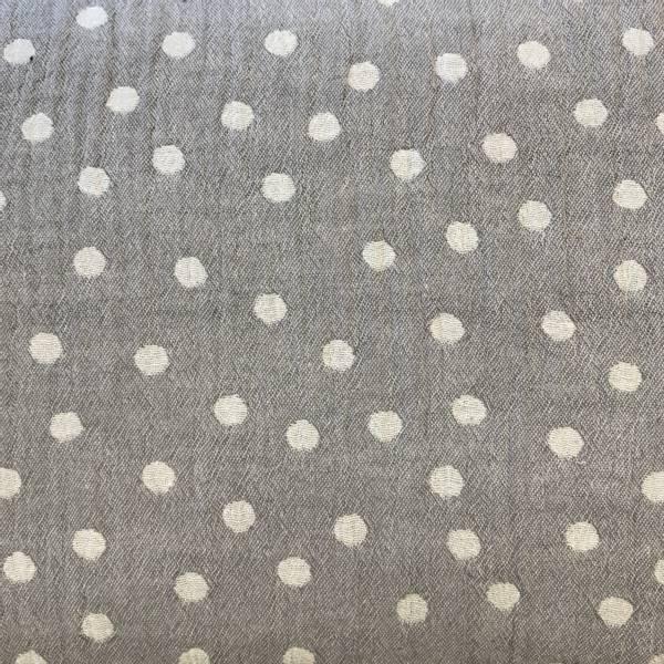 Jacquard hvite prikker med grå bakgrunn