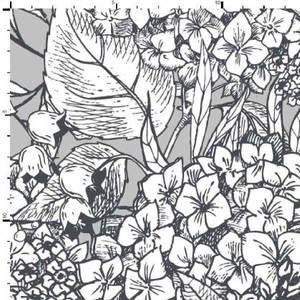 Bilde av Viskosejersey digital blomster hvit på grå/beige bakgrunn