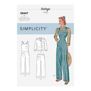 Bilde av Simplicity S8447 Vintage buksedress, bukse og topp