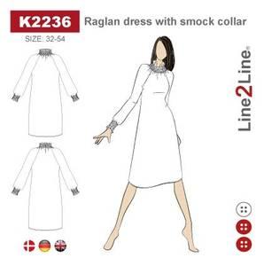Bilde av Line2Line K2236 Raglan kjole med vaffelsøm krage