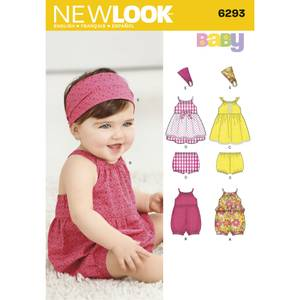 Bilde av New Look 6293 Kjole, romper, bloomer og hårbånd