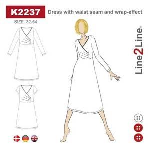 Bilde av Line2Line K2237 Kjole med søm i livet og slå-om effekt