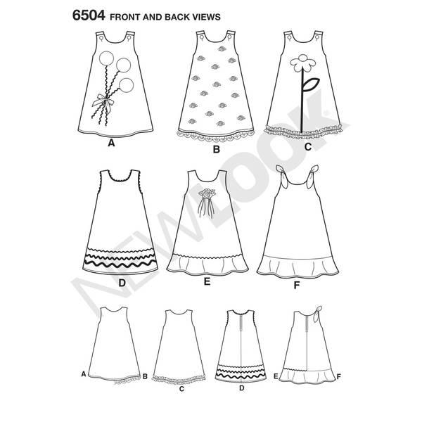 New Look 6504 Kjole i forskjellige varianter og applikasjon