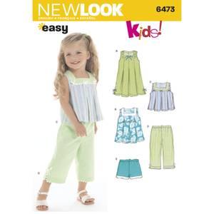 Bilde av New Look 6473 Kjole, topp, bukser og shorts