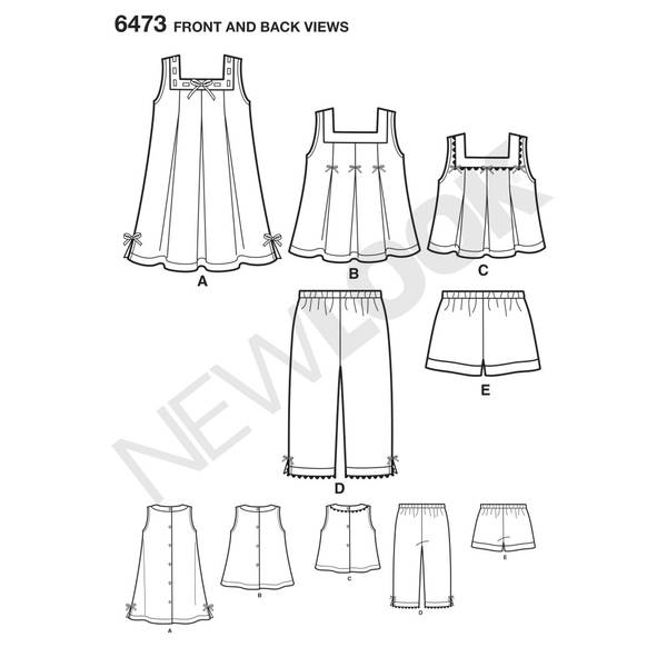New Look 6473 Kjole, topp, bukser og shorts