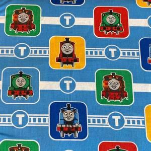 Bilde av Bomull Thomas-toget - Thomas og venner på blå bakgrunn