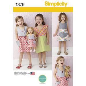 Bilde av Simplicity 1379 Kjole til barn og 45cm dukke
