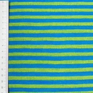 Bilde av Strikket Ull, tynn jaquard - striper blå og grønn