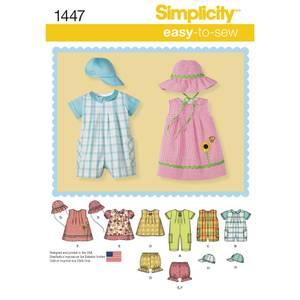 Bilde av Simplicity 1447 Romper, kjole, bloomer og hatt
