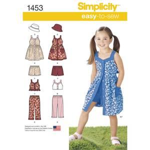Bilde av Simplicity 1453 Kjole, topp, bukser, shorts og hatt