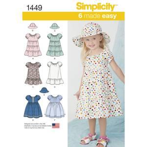 Bilde av Simplicity 1456 Kjole med variasjoner og hatt til barn