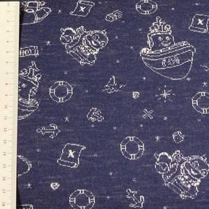 Bilde av Strikket ull, tynn jaquard - båt blå