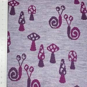 Bilde av Strikket ull, tynn jaquard - snegler og sopp rosa/lilla