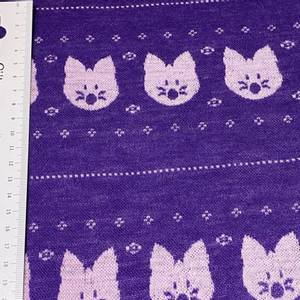 Bilde av Strikket Ull, tynn jaquard - katt lilla