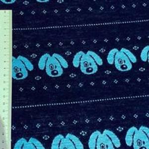 Bilde av Strikket Ull, tynn jaquard - hund blå